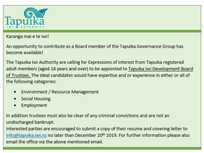 An opportunity to contribute as a Tapuika Development Trust Board member - closes 20th Dec 2019